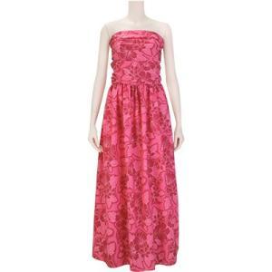 【送料無料】 フラドレス 既製品 ホルターネック シャーリング ドレス ピンク系 ハイビスカス プルメリア柄 9号 rmds 31022ds 2539Pi|pauskirt