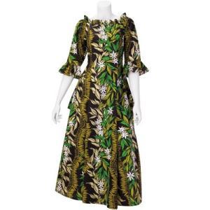【送料無料】 フラドレス 既製品 スリーブタイプ シャーリング ドレス 黒系 ティアレ ジンジャーレイ柄 9号 rmds 41057ds 2492BK|pauskirt