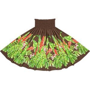 茶色のパウスカート モンステラ・ジンジャー柄 2672BR フラダンス 衣装|pauskirt