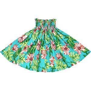 水色のパウスカート ハイビスカス・リーフ柄 2673AQ フラダンス 衣装|pauskirt