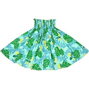 水色のパウスカート レフア・モンステラ・ティリーフ柄 2674AQ フラダンス 衣装|pauskirt