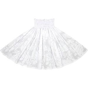 白のパウスカート レフア・モンステラ・ティリーフ柄 2674WH フラダンス 衣装|pauskirt