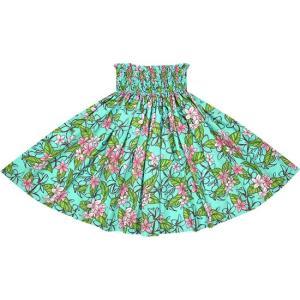 水色のパウスカート プルメリア柄 2680AQ フラダンス 衣装|pauskirt