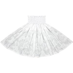 白のパウスカート プルメリア柄 2680WH フラダンス 衣装|pauskirt