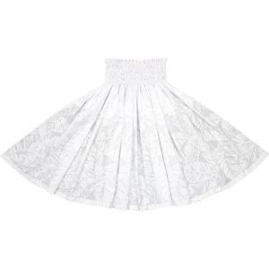 白のパウスカート バナナリーフ柄 2681WH フラダンス 衣装|pauskirt