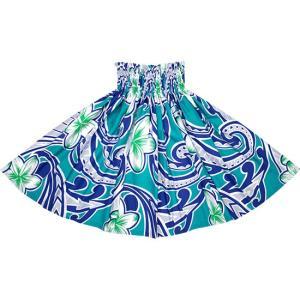 水色のパウスカート プルメリア・タパ柄 2685AQ フラダンス 衣装|pauskirt