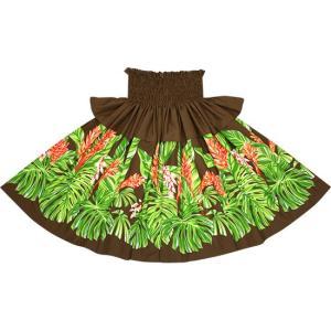 茶色のフリルパウスカート モンステラ・ジンジャー柄 Sofrill-2672BR フラダンス 衣装|pauskirt