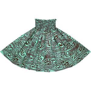 水色のパウスカート ティアレ・タパ柄 2687AQ フラダンス 衣装|pauskirt