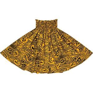 黄色のパウスカート ティアレ・タパ柄 2687YW フラダンス 衣装|pauskirt