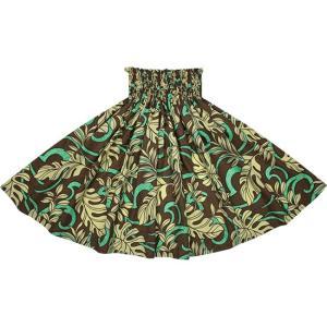 茶色のパウスカート モンステラ柄 2691BR フラダンス 衣装|pauskirt