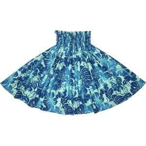 水色のパウスカート ハイビスカス・モンステラ柄 2692AQ フラダンス 衣装|pauskirt