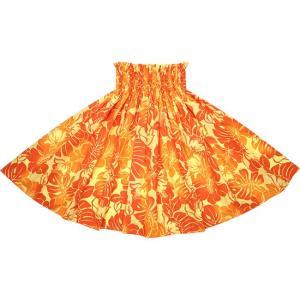 オレンジのパウスカート ハイビスカス・モンステラ柄 2692OR フラダンス 衣装|pauskirt