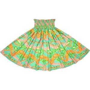 水色のパウスカート フラワーレイ・ボーダー柄 2697AQ フラダンス 衣装|pauskirt