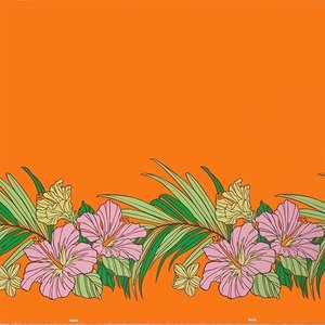 オレンジのハワイアンファブリック ポリコットン ハイビスカス・ヤシ柄 fab-2698OR 【4ヤードまでメール便可】 pauskirt