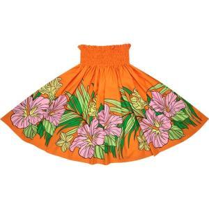 オレンジのパウスカート ハイビスカス・ヤシ柄 2698OR フラダンス 衣装|pauskirt