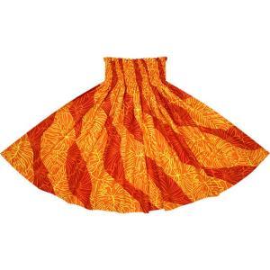 オレンジと赤のパウスカート ハイビスカス・モンステラ柄 2699ORRD フラダンス 衣装|pauskirt