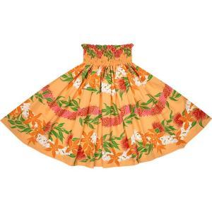 オレンジのパウスカート オーキッド・レフア・レイ・ボーダー柄 2700OR フラダンス 衣装|pauskirt