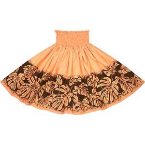 オレンジのパウスカート モンステラ柄 2701OR フラダンス 衣装|pauskirt