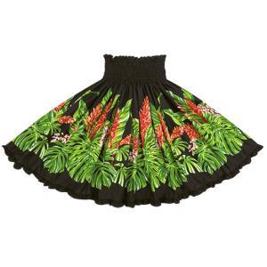 黒のリヒリヒパウスカート モンステラ・ジンジャー柄 lihilihi-2672BK-c300 フラダンス 衣装|pauskirt
