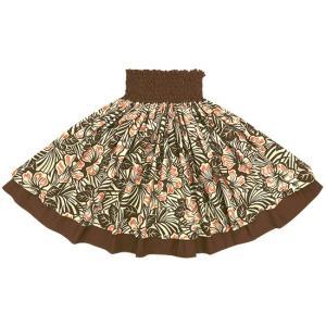 【送料無料】 茶色のダブルパウスカート ハイビスカス柄とチョコレート色の無地  2696BR-chocolate フラダンス 衣装|pauskirt