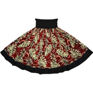 【送料無料】赤のモンステラ・トロピカルリーフ柄とダークブラックの無地 2691RD-c300 フラダンス 衣装|pauskirt