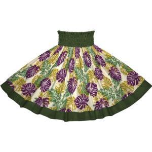 【送料無料】ベージュと紫のモンステラ・パラパライ柄とモスグリーンの無地 2646BGPP-c265 フラダンス 衣装|pauskirt
