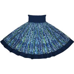 【送料無料】青のウェーブ柄とネイビーの無地 2705BL-c266 フラダンス 衣装|pauskirt