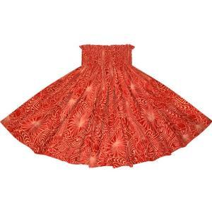 赤のパウスカート モンステラ・タパ柄 2707RD フラダンス 衣装|pauskirt