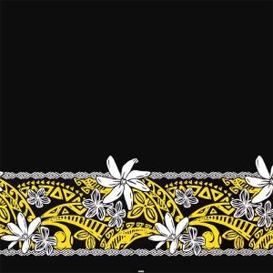 黒のハワイアンファブリック ティアレ・プルメリア・タパ柄 fab-2708BK 【4yまでメール便可】|pauskirt