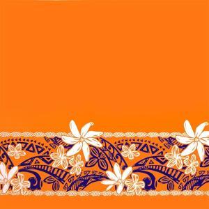 オレンジのハワイアンファブリック ティアレ・プルメリア・タパ柄 fab-2708OR 【4yまでメール便可】|pauskirt