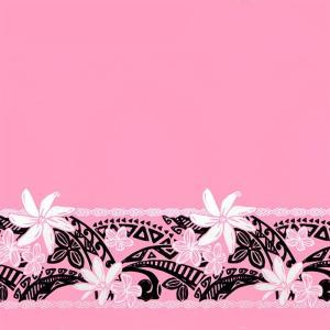 ピンクのハワイアンファブリック ティアレ・プルメリア・タパ柄 fab-2708Pi 【4yまでメール便可】|pauskirt