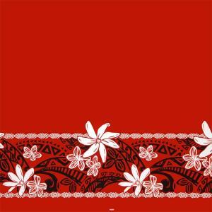 赤のハワイアンファブリック ティアレ・プルメリア・タパ柄 fab-2708RD 【4yまでメール便可】|pauskirt