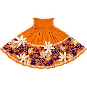 オレンジのパウスカート ティアレ・プルメリア・タパ柄 2708OR フラダンス 衣装|pauskirt