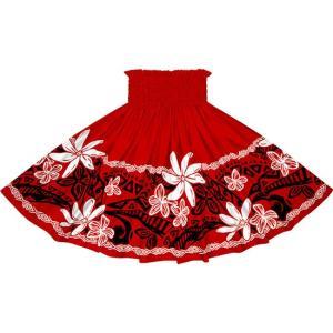 赤のパウスカート ティアレ・プルメリア・タパ柄 2708RD フラダンス 衣装|pauskirt