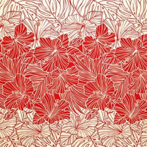 赤のハワイアンファブリック ハイビスカス・ヤシ柄 fab-2709RD 【4yまでメール便可】|pauskirt