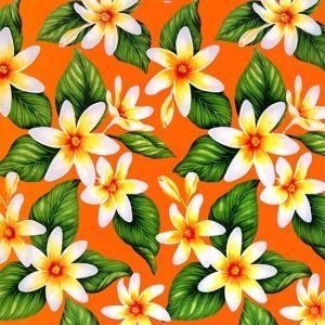 オレンジのハワイアンファブリック ティアレ柄 fab-2710OR 【4yまでメール便可】|pauskirt
