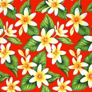 赤のハワイアンファブリック ティアレ柄 fab-2710RD 【4yまでメール便可】|pauskirt
