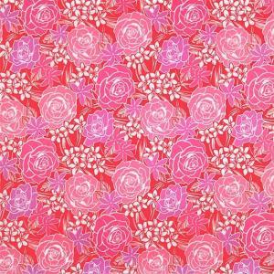 ピンクのハワイアンファブリック ローズ・プルメリア・ティアレ柄 fab-2711Pi 【4yまでメール便可】|pauskirt