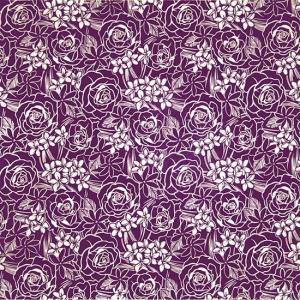 紫のハワイアンファブリック ローズ・プルメリア・ティアレ柄 fab-2711PP 【4yまでメール便可】|pauskirt