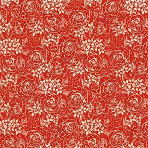赤のハワイアンファブリック ローズ・プルメリア・ティアレ柄 fab-2711RD 【4yまでメール便可】|pauskirt