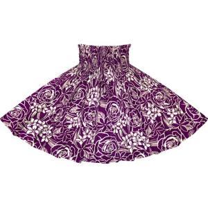 紫のパウスカート ローズ・プルメリア・ティアレ柄 2711PP フラダンス 衣装|pauskirt