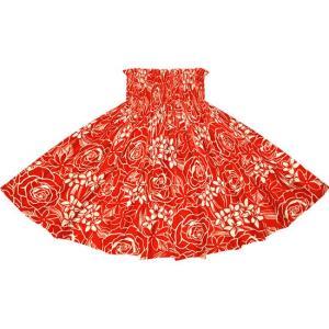 赤のパウスカート ローズ・プルメリア・ティアレ柄 2711RD フラダンス 衣装|pauskirt