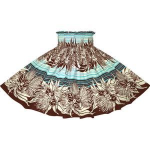 茶色と水色のパウスカート レフア・リリー・ボーダー柄  2713BRAQ フラダンス 衣装|pauskirt