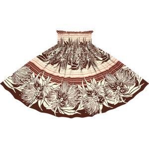茶色とピンクのパウスカート レフア・リリー・ボーダー柄  2713BRPi フラダンス 衣装|pauskirt