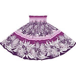 紫のパウスカート レフア・リリー・ボーダー柄  2713PP フラダンス 衣装|pauskirt