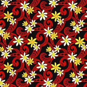 黒のハワイアンファブリック ポリコットン ティアレ・タパ柄 fab-2714BK 【4ヤードまでメール便可】 pauskirt
