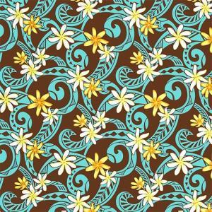 茶色のハワイアンファブリック ティアレ・タパ柄 fab-2714BR 【4yまでメール便可】|pauskirt