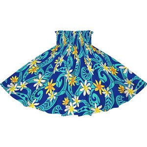 青のパウスカート ティアレ・タパ柄 2714BL フラダンス 衣装 pauskirt
