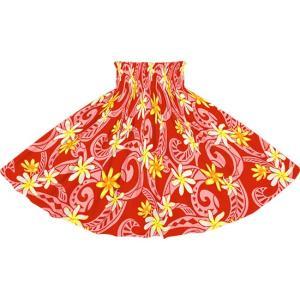 赤のパウスカート ティアレ・タパ柄 2714RD フラダンス 衣装|pauskirt