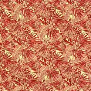 赤のハワイアンファブリック ポリコットン オーキッド・ヤシ・バナナリーフ柄 fab-2715RD 【4ヤードまでメール便可】 pauskirt